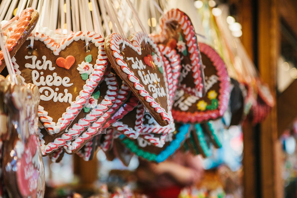 Lebkuchen or Pfefferkuchen is a traditional German baked Christmas cookie somewhat resembling gingerbread